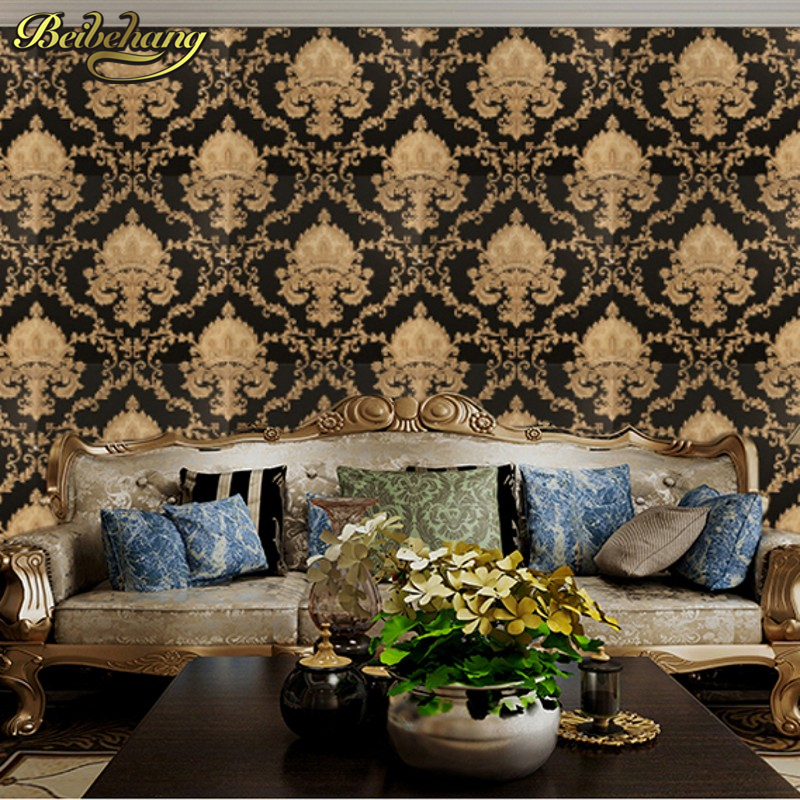 Beibehang Damask Wallpaper Black And White Classic Home