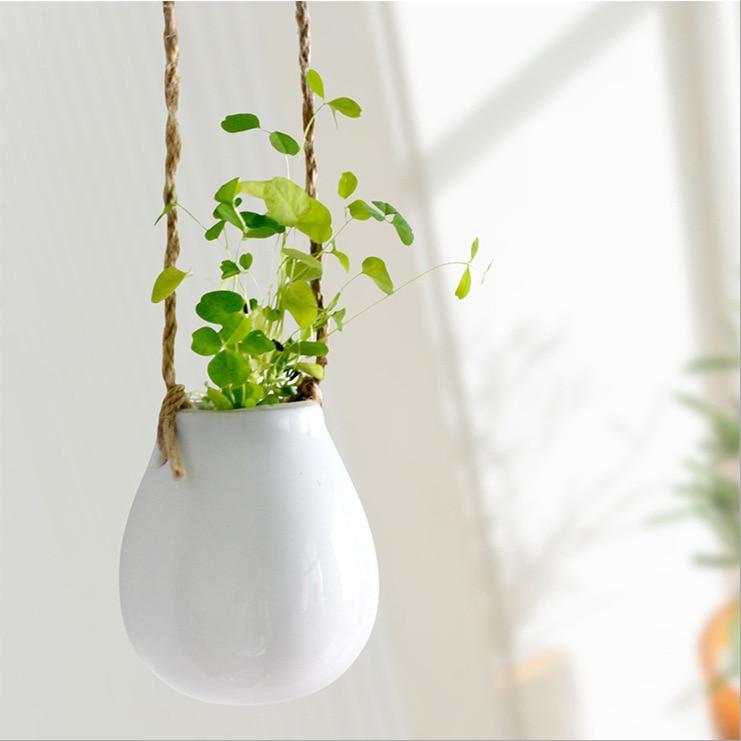 Aibei Zakka Ceramic White Hanging Flower Pot Japanese
