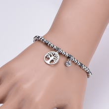 цена на Stainless Steel Cuff Bracelet for Women Silver Tone Beaded Bracelets tree of life Big Crystal Charms Statement Jewelry Girl Gift
