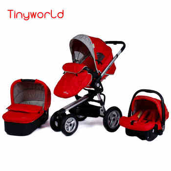 3 in 1 Baby Stroller With Sleeping Basket & Car Safety Seat, Fold Portable Carriage Have Foot Cover image