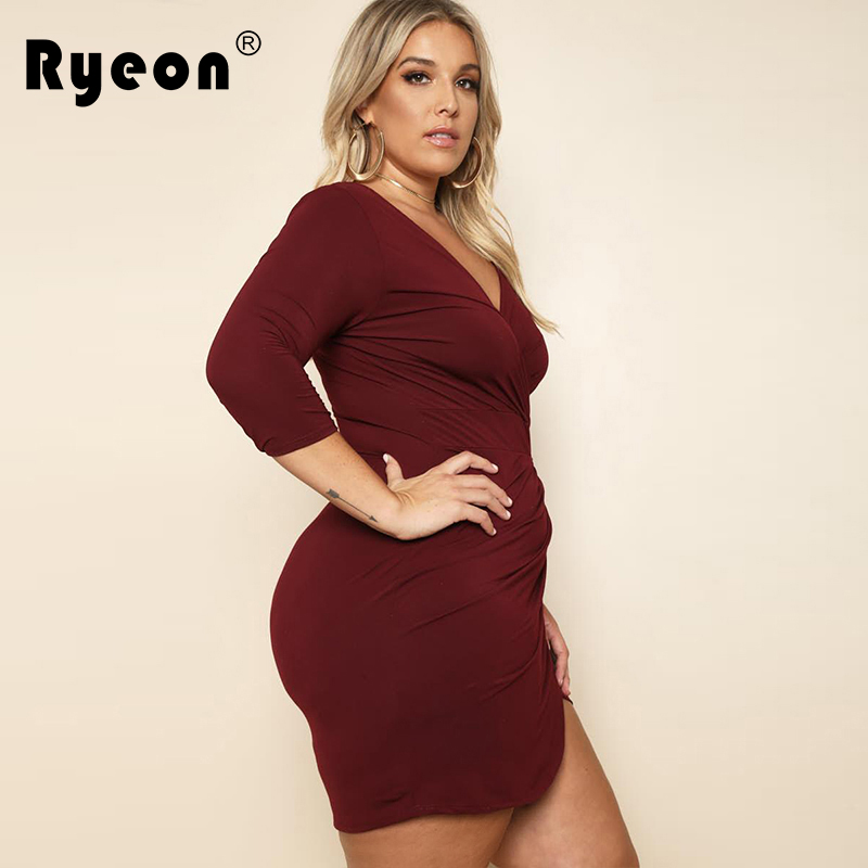 Ryeon Vestido Sexy Bodycon Dress Autumn Winter Plus Size Women Black Wine  Red Long Sleeve Mini Party Office Dress Big Sizes Xxxl-in Dresses from  Women s ... 44639bedb5c9