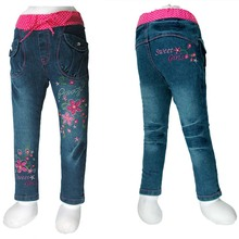 Kid girls jeans denim trousers double butterfly multiple flowers embroider elastic waist pattern 2014  (MH 2795)