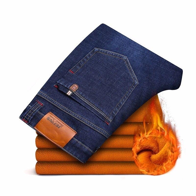 Image 2 - AIRGRACIAS 2019 Winter New Men Warm Jeans Famous Brand Thick  Jeans Soft Thicken Fleece Men Jeans Black/blue Long Trouser 28 40Jeans