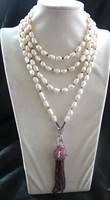 Freshwater Pearl White Baroque 9 11mm Leopard Clasp Red Garnet Necklace 80inch FPPJ Wholesale Beads