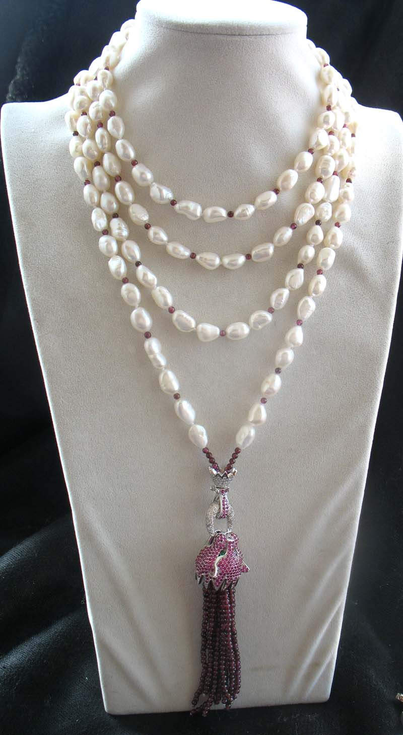 все цены на freshwater pearl white baroque 9-11mm +leopard clasp red garnet necklace 80inch FPPJ wholesale beads nature онлайн
