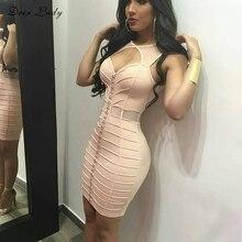 Sleeveless Pink Mesh Sexy Patchwork Bandage Dress