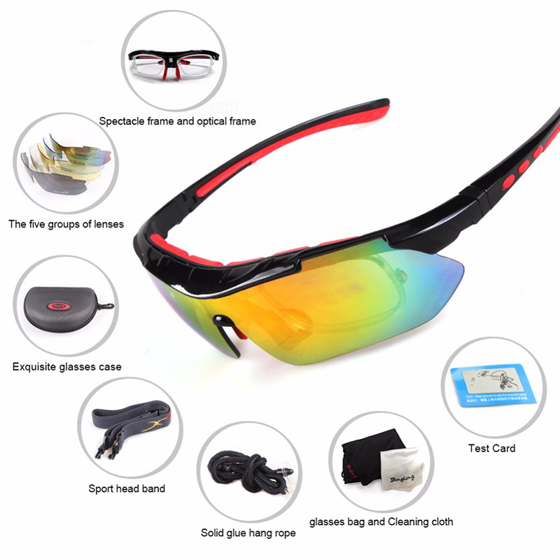 Sports Cycling polarized Sun Glasses  Interchangeable 5 Lens Bike Sunglasses PC lens bicycle UV400 Fishing Driving  Eyewear 2015 new ultra light rimless sunglasses memory pure titanium rim polarized sunglasses classic e large sun glasses eye silhouett