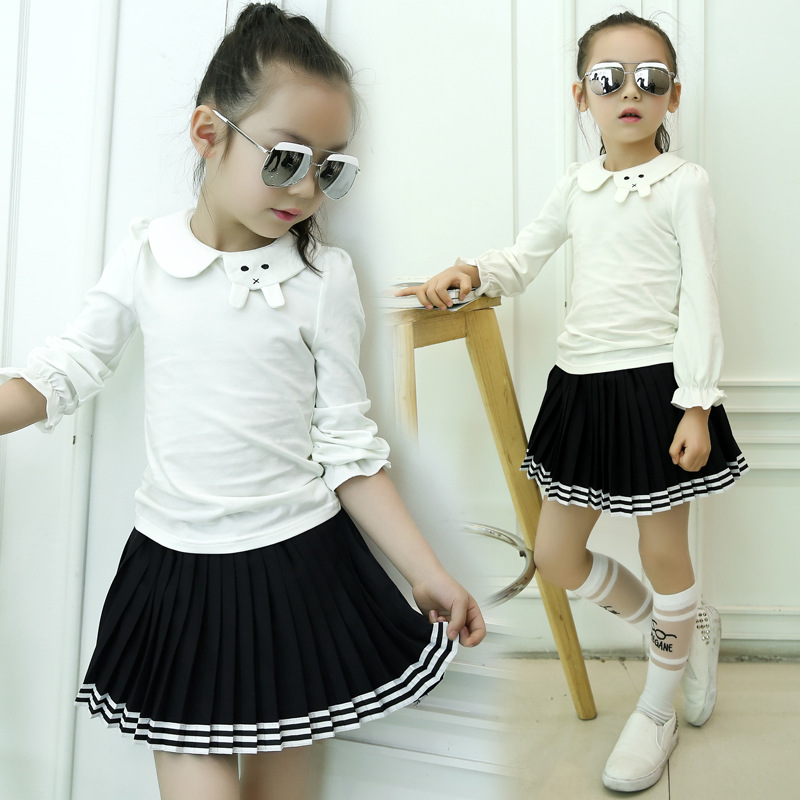 Girls Shirt Doll Children New Spring Autumn Kids T-shirt-dress Two Pieces Clothing Sets Black White Cotton brand new spring autumn girls clothing t shirt long sleeves red black children cute long t shirt school shirt top tees gh048