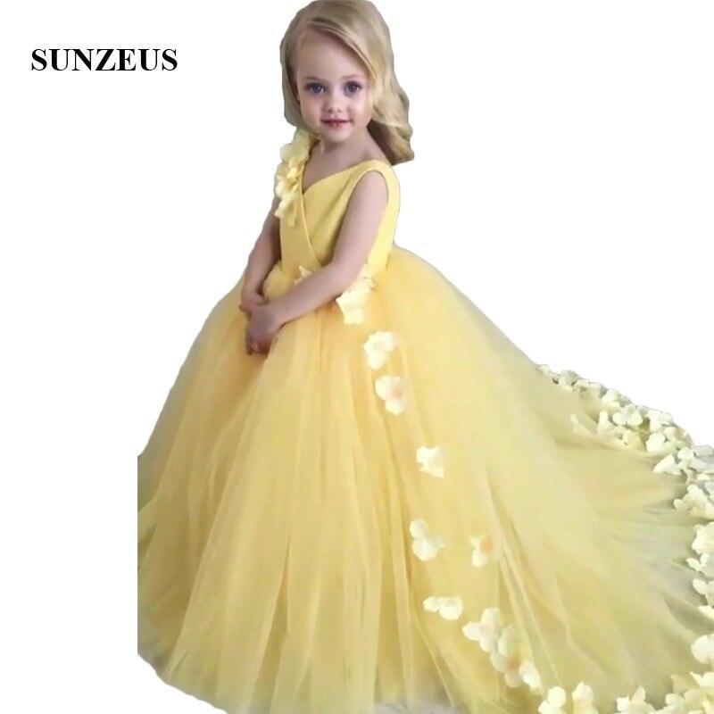 Yellow   Girls   Pageant Party   Dresses   Long V Neck Tank A-Line Puffy Skirt Handmade   Flower   Sweet   Flower     Girls     Dresses   SF33