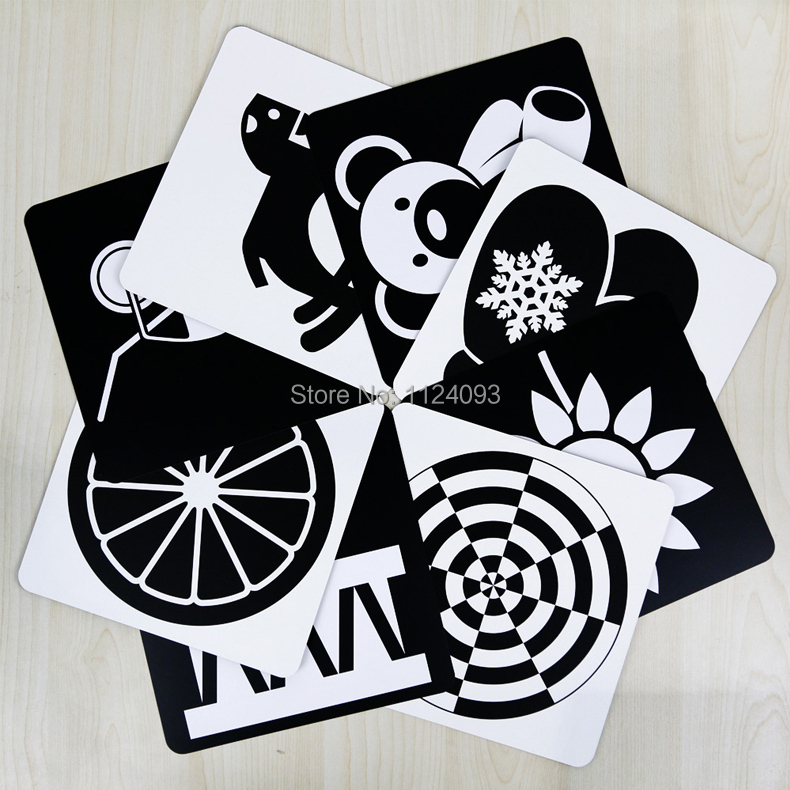 Newborn baby Visual training enlightenment card Black white cards color big cards green healthy book size