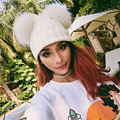 2016 Mulheres Da Moda Chapéus De Pele Pompons Gorros de Inverno Chapéu Forrado a Pele Das Mulheres de Malha Balaclava chapéu Forrado a Pele Cap Fêmea de Malha Grossa