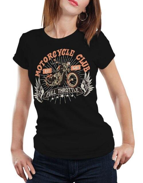 Camiseta de marca para mujer, moda, cuello redondo, mejor venta, Camiseta de algodón Natural, motocicleta, acelerador completo, Biker Enduro Kult Vint Tee
