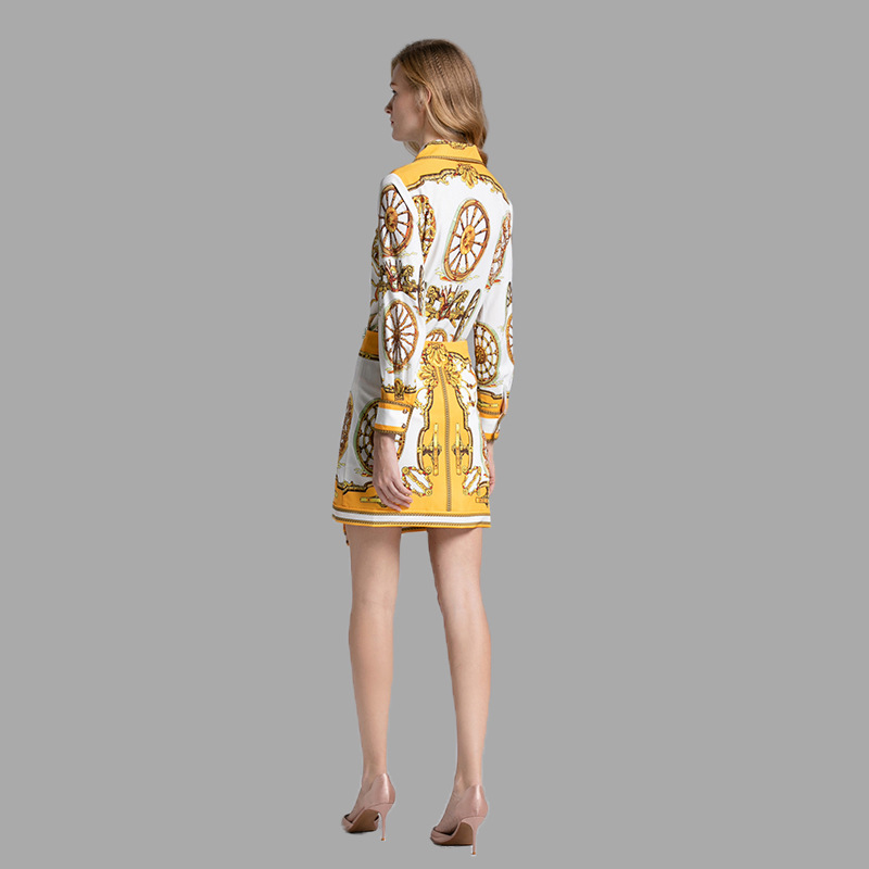 Pièces 2 Imprimer Hauts 2019 Chemisiers Longues D'été Tenues Haute Couture Femmes Jaune Ensemble Et Perles Qyfcioufu Piste À Jupe Arc Manches qEtTxwdTP