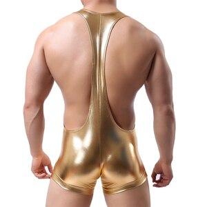 Image 5 - Neue Stil Goldene Silber Heißer Männer Faux Leder Unterwäsche Fetisch Unterwäsche Wrestling Nachtwäsche Bodysuit Overall Boxer