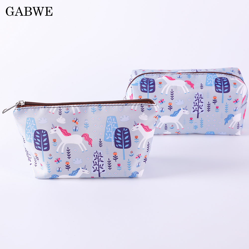 GABWE Zipper Unicorn Polyester Cosmetic Cases Women Fashion Makeup Pouch Organizer WashStorage Toiletry Bags Neceser Maquillaje(China)