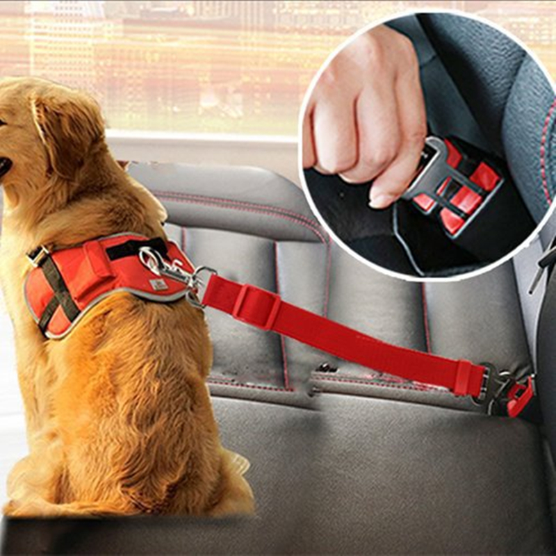 Asiento de seguridad para mascotas Asiento de seguridad para perros Asiento del arnés de seguridad Correa ajustable Clip de viaje Perro para perros Cinturón de seguridad para todos los coches