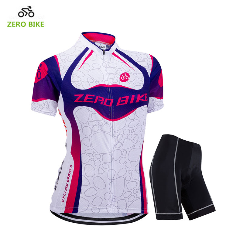 ZEROBIKE New Summer Womens Cycling Clothing Full Zipper Breathable Cycling Jersey Top Bicycle Tight Shorts bicicleta ciclismo