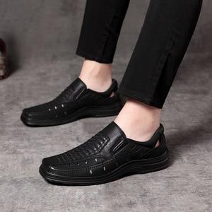 Image 4 - Jackmiller summer hot sale sandals men super light comfortable men sandals breathable slip on men shoes solid black side goring