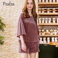 New Autumn Women Pajamas Set Loose Solid Velour Sleepwear Set Round Half Sleeve Nightwear Pajamas Ladies Homewear Soft