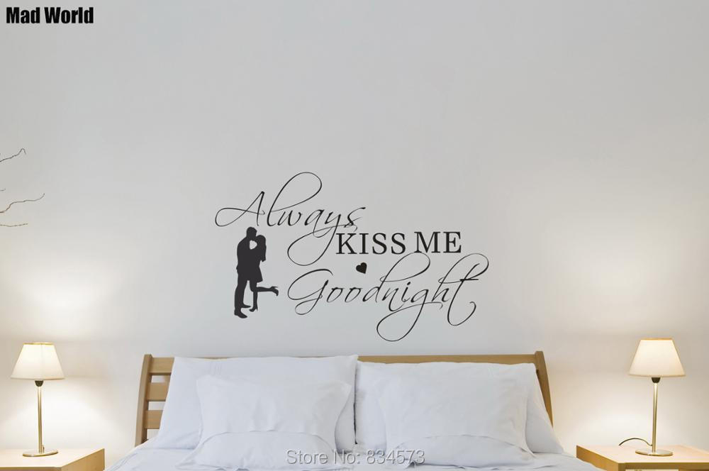 Husband and wife Always Kiss Me Goodnight Wall Art Stickers Wall Decal Home DIY Decoration Removable Room Decor Wall Stickers