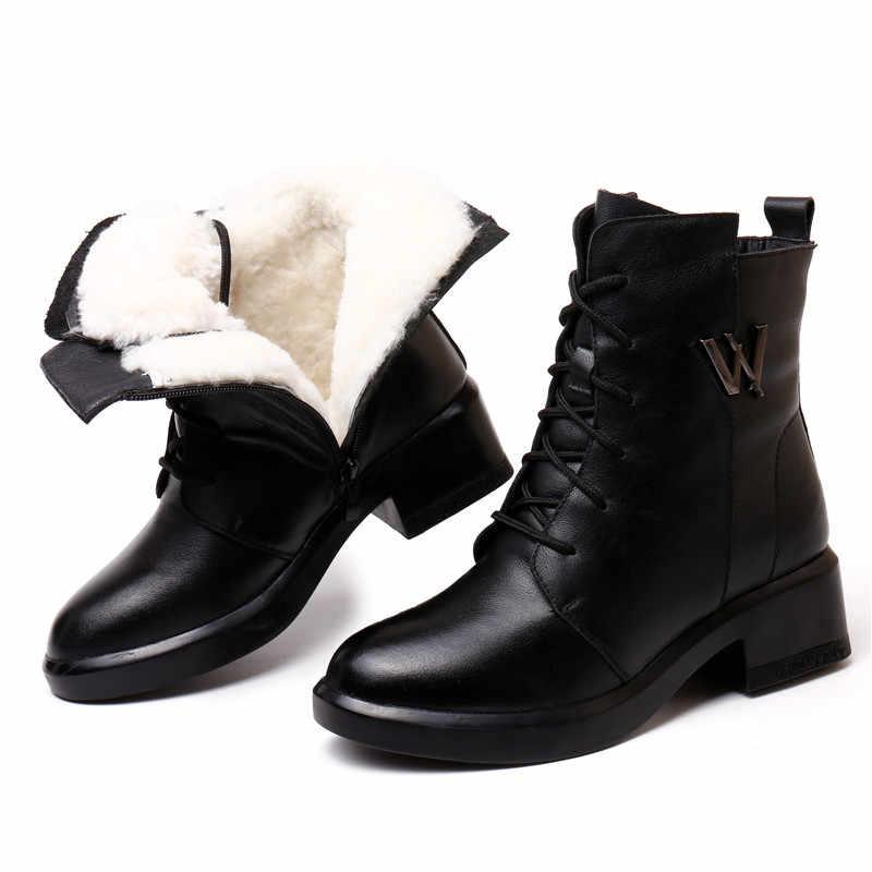 MORAZORA 2020 חדש האופנה שלג מגפי נשים אמיתי עור קרסול מגפי תחרה עד zip med עקבים פלטפורמת מגפי אישה החורף נעליים