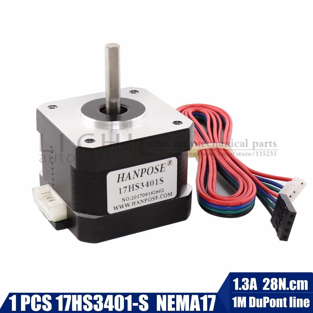 Envío libre y calidad 17HS3401-4-plomo Nema 17 Stepper Motor 42 motor 42 BYGH 1.3A CE ROSH ISO CNC láser y 3D impresora