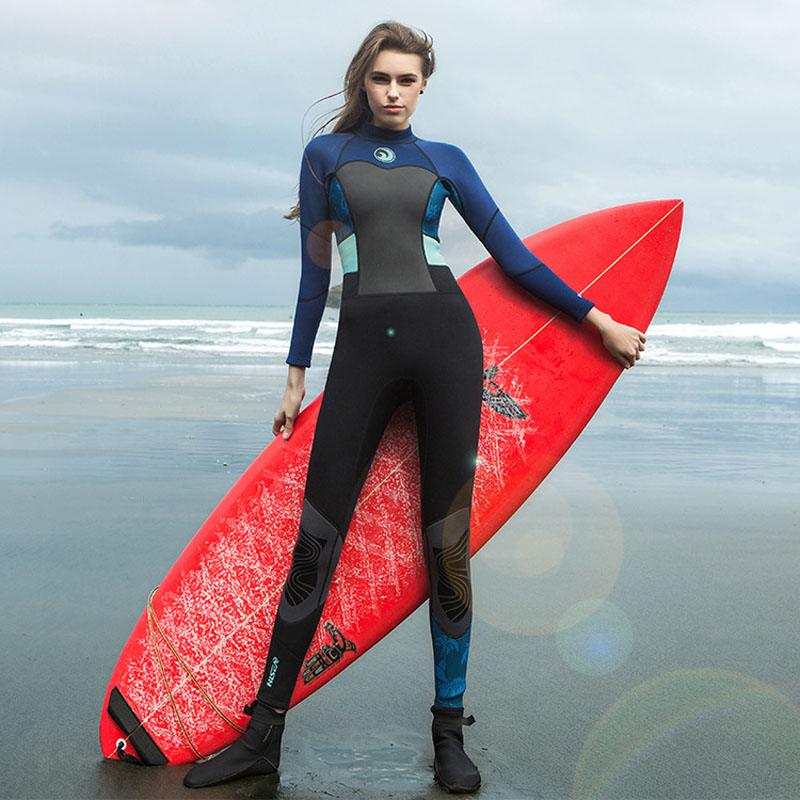 24bf6f966a Hisea 1.5mm Women Neoprene Wetsuit Color Stitching Surf Diving Equipment  Suit Clothing Long-sleeved One piece Soft Elastic Warm