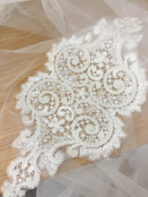 4 Pieces Vintage style 3D Peal beaded mesh lace applique , floral embroidery pacth motif, bridal