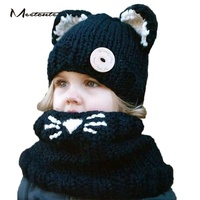 0 2 Years Old Children Knitted Hat Scarf Set Kids Catsuit Hat Autumn Winter Warm Neck