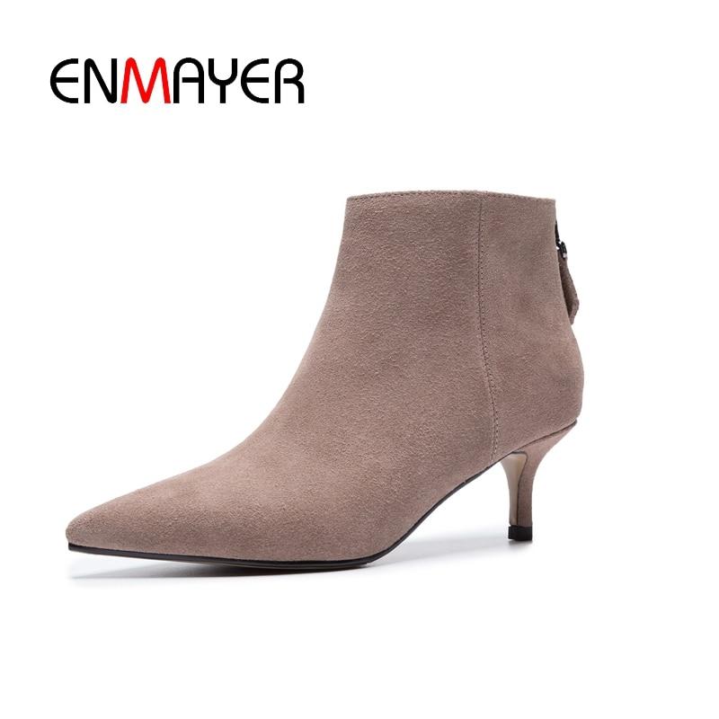 Zapatos Cremallera Negro La Casual Botas Tobillo Mujer pink Cr1357 Black Tacones Bolso Moda De Enmayer Ante Delgada Vaca Con 1SwZnPqc6