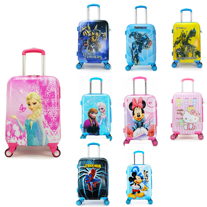 1920 Cartoon Children Rolling Luggage Kid Suitcase Boy Girl Princess Abs Trolley Case Boarding Box Trunk Carry Roll