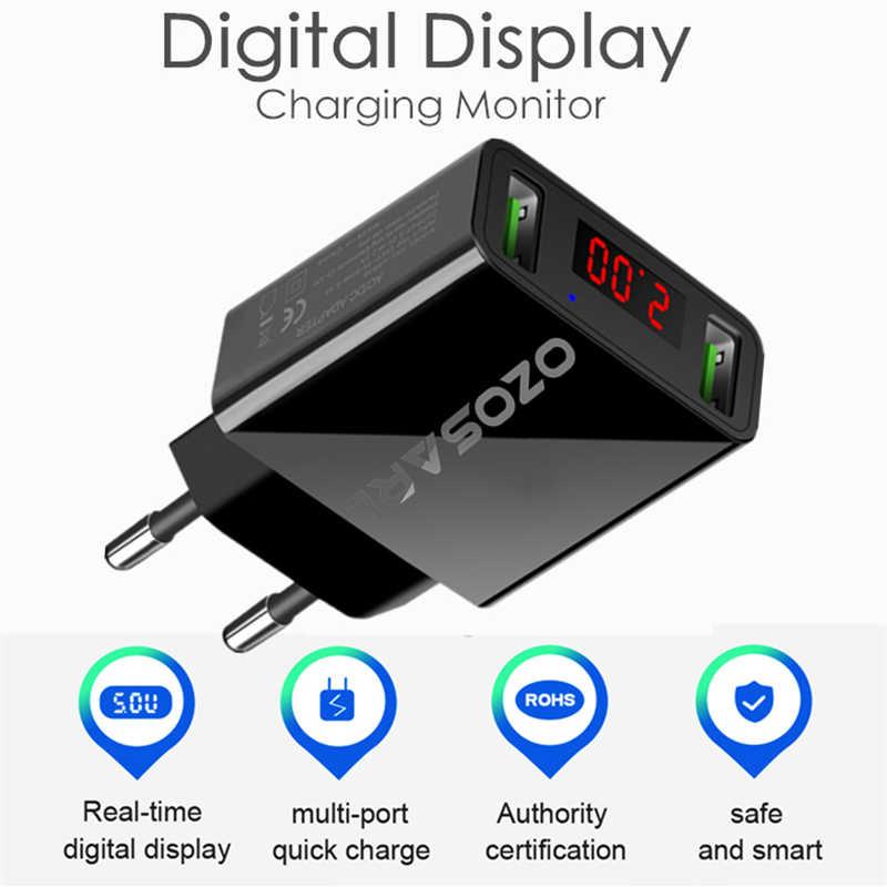 2 Port LED Display Universal 5 V 2.2A Ponsel Power Adapter USB Charger Perjalanan Dinding Charger untuk Iphone Samsung Ipad xiaomi