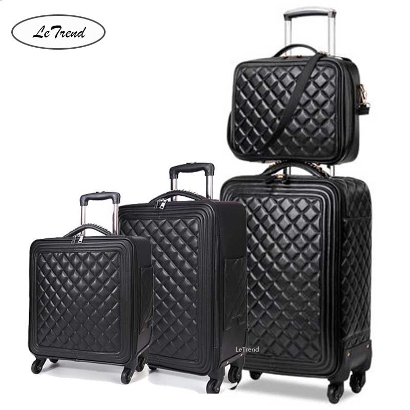 LeTrend High grade luxury Brand Rolling Luggage Set Spinner High capacity Trolley Retro PU Leather 16