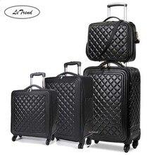 LeTrend Высококачественная Роскошная брендовая сумка на колёсиках, набор, Спиннер, высокая емкость, тележка, Ретро стиль, из искусственной кожи, 16/20 ', чемодан на колесиках