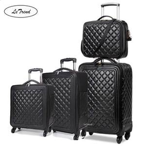 Letrend Rolling-Luggage-Set Wheels Spinner Trolley Cabin Suitcase Retro High-Grade Luxury