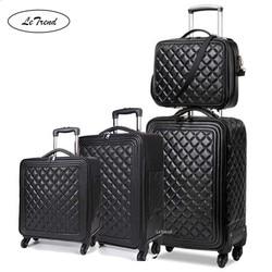 LeTrend High grade luxus Marke Roll Gepäck Set Spinner Hohe kapazität Trolley Retro PU Leder 16/20 Kabine Koffer Räder