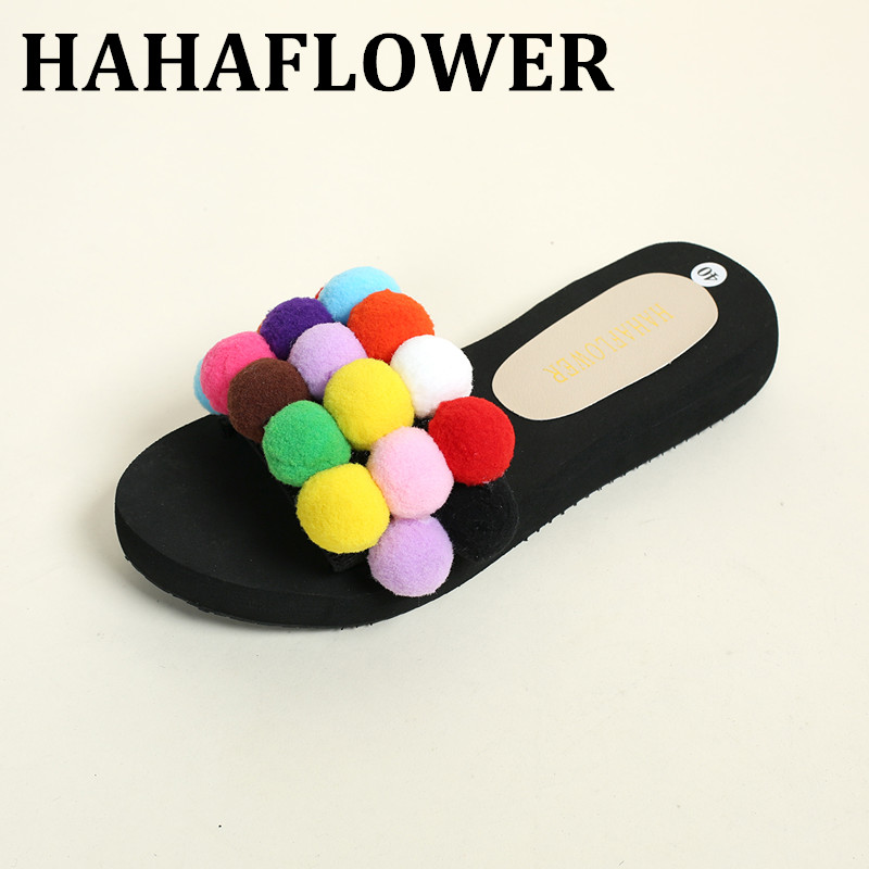 HAHAFLOWER New 2017 Women New Summer Casual Big Fur Ball Slippers Female Flat Heel Indoor Shoes Casual Beach Slippers Hot sale 4pcs new for ball uff bes m18mg noc80b s04g
