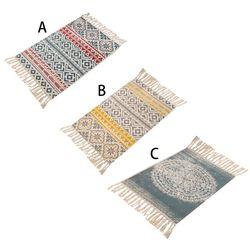 Amerykański czeski dywan do składania dekoracyjna bawełna lniana ręcznie tkana wzór geometryczny mata podłogowa dywan z frędzlami Home Decor 60x90CM