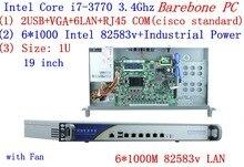 1U firewall server Barebone with 6*1000M 82583V Gigabit Intel CORE I7 3770 3.4G support ROS Mikrotik PFSense Panabit Wayos