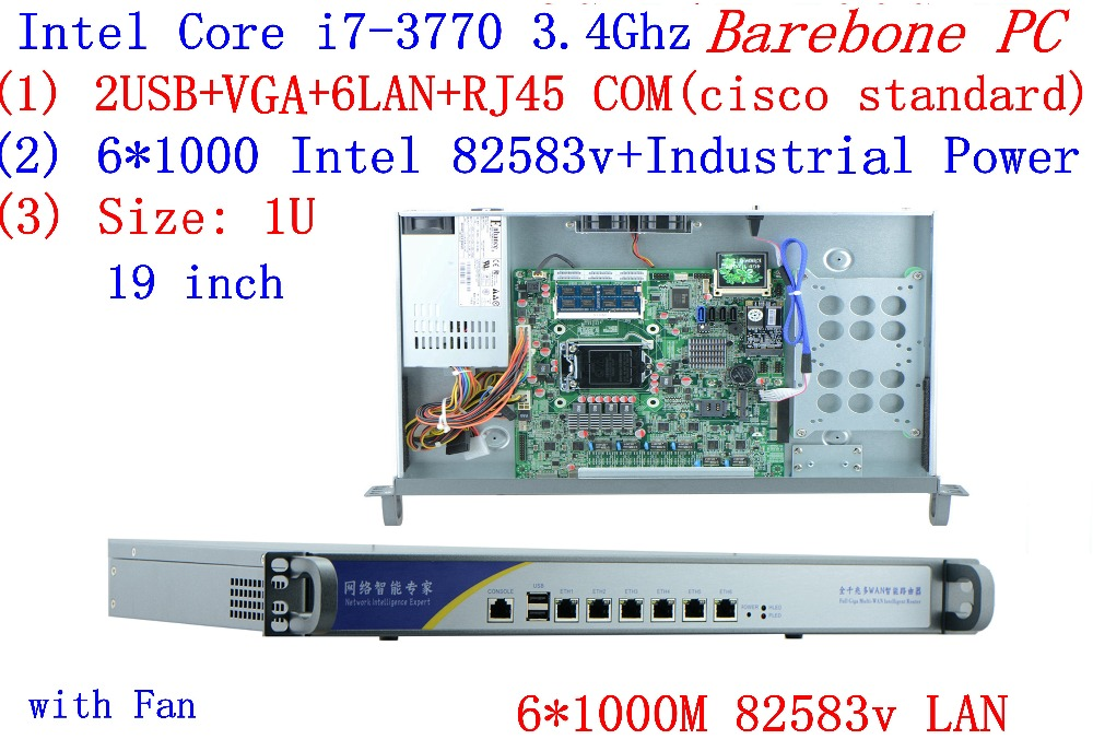 1U Firewall Server  Barebone PC With 6*1000M 82583V Gigabit Intel CORE I7 3770 3.4G Support ROS Mikrotik PFSense Panabit Wayos