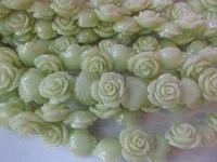 free ship LOT resin plastic charm bead 15mm 100pcs rose florial petal lemon green assortment color jewelry have drilled