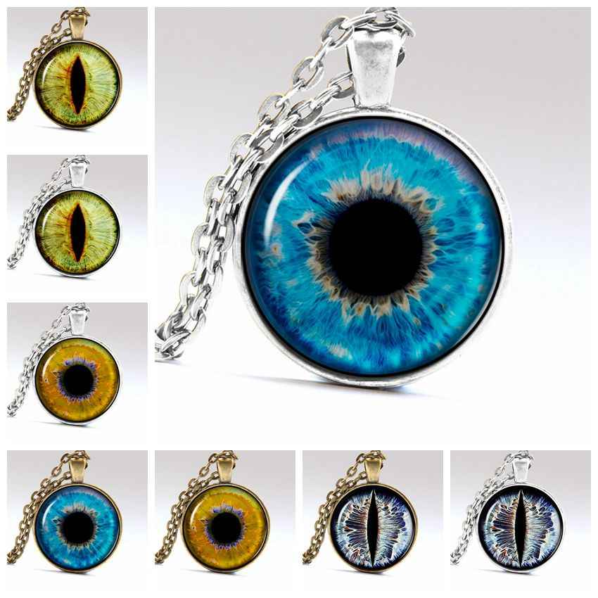 New Fashion Cat Eye Glass Cabochon Pendant Tiger Eye Art Picture Necklace Handmade Ogre Eye Jewelry