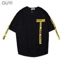 GUYI Black Side Stripe Gold Tag T shirt Men Short Sleeve O-neck Off Tops Tees Male Boy White Casual Fashion Streetwear T-shirt