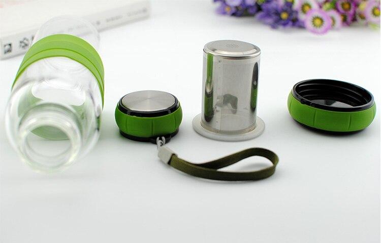 450 ml Kreatif Labu botol Olahraga Kaca tahan Panas dengan Saringan - Dapur, ruang makan, dan bar - Foto 2