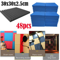 48Pcs Acoustic Foam Panel Sound Stop Absorption Sponge Studio KTV Soundproof Sound Insulation Sponge
