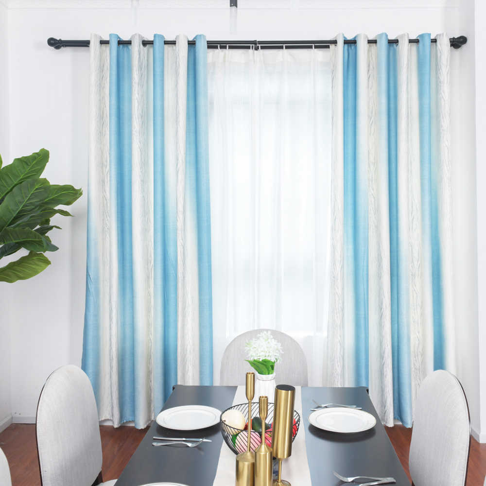 Blue Striped Blackout Curtains Nordic Ins Organza Sheer Blins Curtain For Living Room Bedroom Kids Children Room Home 27