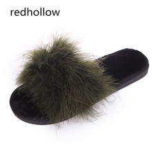 Feather Slippers Women Winter Home With Fur Fashion Warm Shoes Woman Slip On Flats Female Slides Indoor