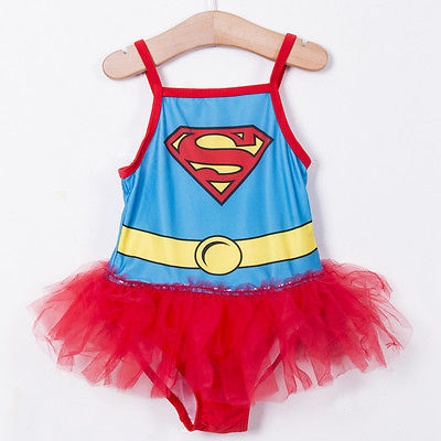 New Kids Girls Swim Clothing Superman Swimwear Bathing Suit One-pieces Swimsuit