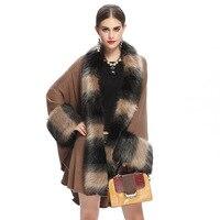 SWONCO Fur Cape Winter Warm Knit Poncho For Women 2019 Long Faux Fox Fur Long Cape Winter Cloak Women Poncho Hombre Invierno Red