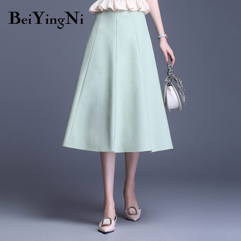 Beiyingni New Fashion Summer Office Lady Skirt 2019 Simple Work Wear High Waist Saia Women Patchwork Elegant Leisure Kpop Skirts